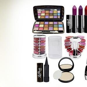 Adbeni Orange Lipstick 4 Pcs, Lipgloss 1Pc, Kajal 1Pc, Eyeliner 1Pc, Compact 1Pc (Assorted), 18 Color Eyeshadow 1Pc (Pad A)