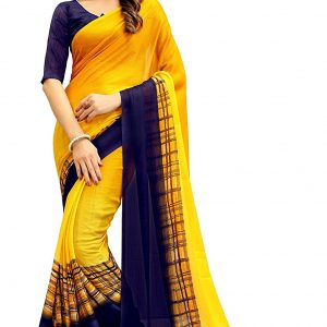 Navya Women's Chiffon Saree With Blouse Piece (Nav322_Multi-Coloured)