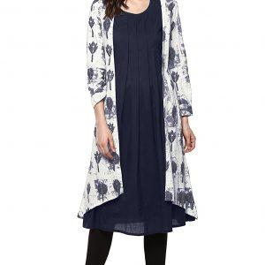 Janasya Women's Blue Cotton A-Line Abstract Print Kurta With Jacket