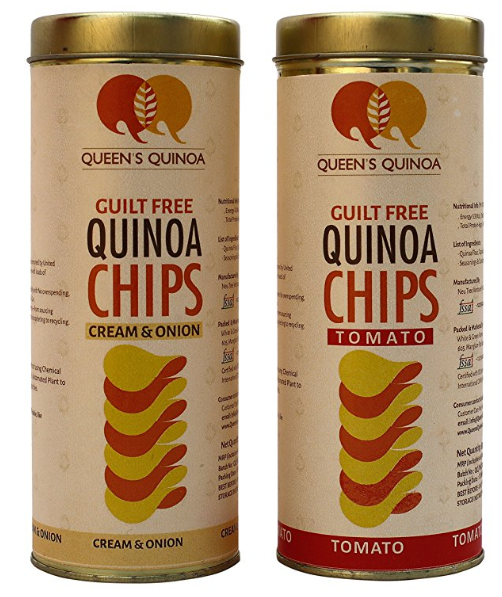 Guilt Free Queens Quinoa CHIPS 1pc Tomato Flavour 1pc Cream & Onion Falvour What is Guilt Free 1. Guilt Free Ingredient: Quinoa, a whole grain promoted by United Nations having complete protein, low GI Index with loads of Vitamins & Minerals. 2. Guilt Free Consumption: Consuming responsibly with No overspending, lower food wastage & packing in reusable Tin Can. 3. Guilt-Free Lifestyle: Transparency and Honesty—from sourcing materials to production, labor management and marketing to recycling.
