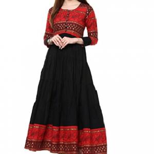 IVES Women's Cotton Anarkali Kurti (Red)