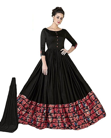 Karm Enterprise Solid Digital Printed Women\'s Crepe Long Gown Kurta ...