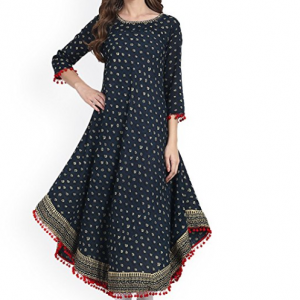 Amayra Women's Cotton Printed Blue Anarkali Kurti
