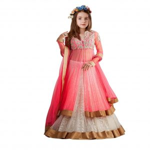 Girl's Rasal Net Lehenga Choli With Dupatta