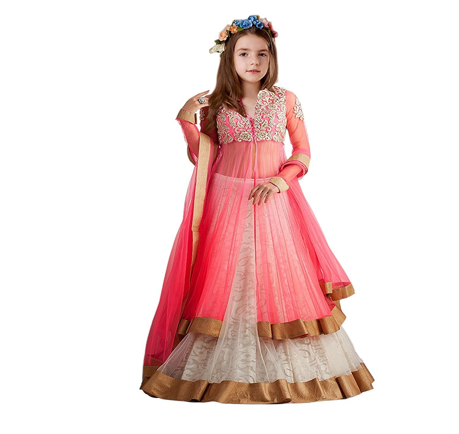 S R Fashion Girl S Rasal Net Lehenga Choli With Dupatta Multi Color 8 11 Years Ppk Cartnext In