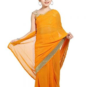 JUHIYELLOW - Pre-Stitched Ready To Wear Girls Saree