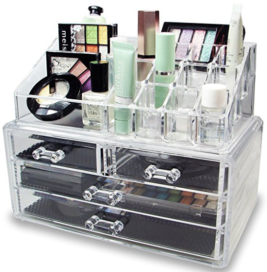 Connectwide®Acrylic Cosmetic Organizer 4 Drawers Drawer Makeup Case Storage Holder Box