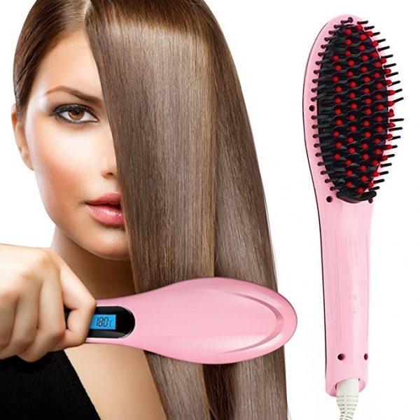 ISABELLA Fast Hair Straightener Brush With Temperature