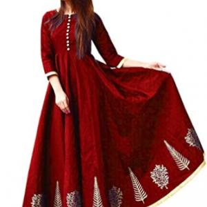 Vaankosh Fashion Women's Taffeta Silk Anarkali Embroidered Gown