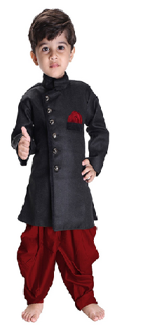 Sherwani Suit Dress with Patiala Style Cowl Dhoti Pant For Boys