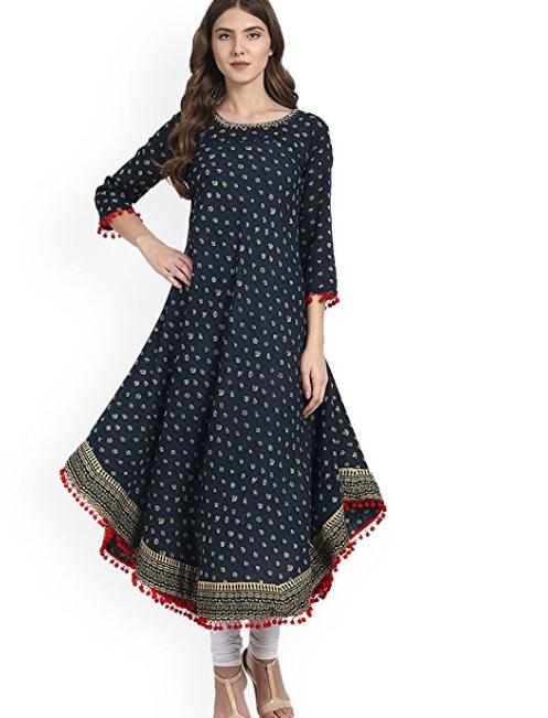 Amayra Women's Cotton Printed Blue Anarkali Kurti