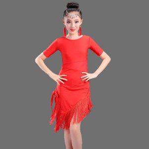 Red Modern Girl Latin Dance Dress For Girls