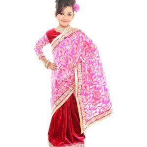 Pratima Half and Half Rani Supernet and Velvet Ready made Saree