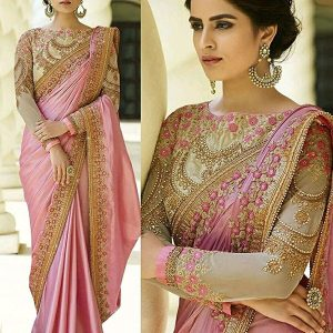 Arohi Designer Embroidered Pink Colour Silk & Georgette Saree for women With Blouse Material