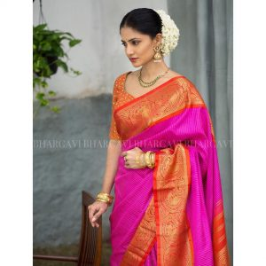 Pink traditional silk saree